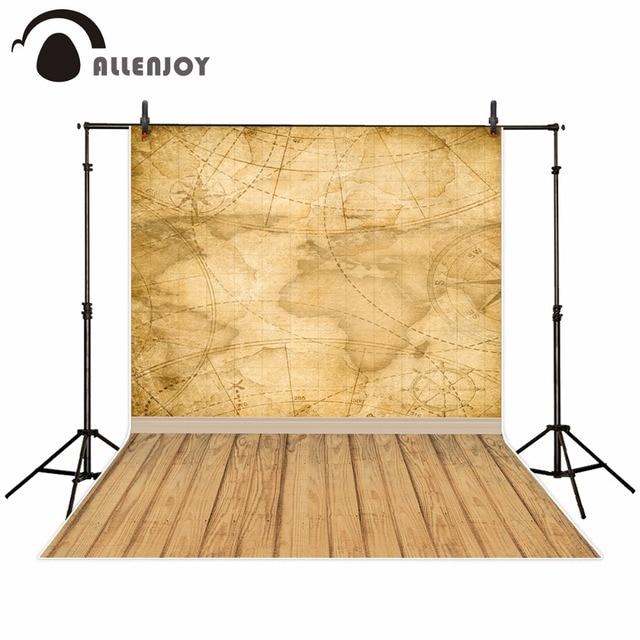 Allenjoy welt karte hintergrund für fotografie vintage kompass holz boden reise foto studio Hintergrund photo booth photo neue