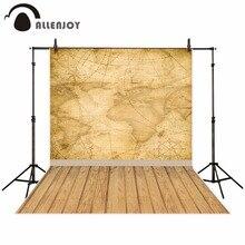 Allenjoy מפת העולם רקע לצילום בציר מצפן עץ רצפת נסיעות תמונה סטודיו רקע תא צילום שיחת וידאו חדש