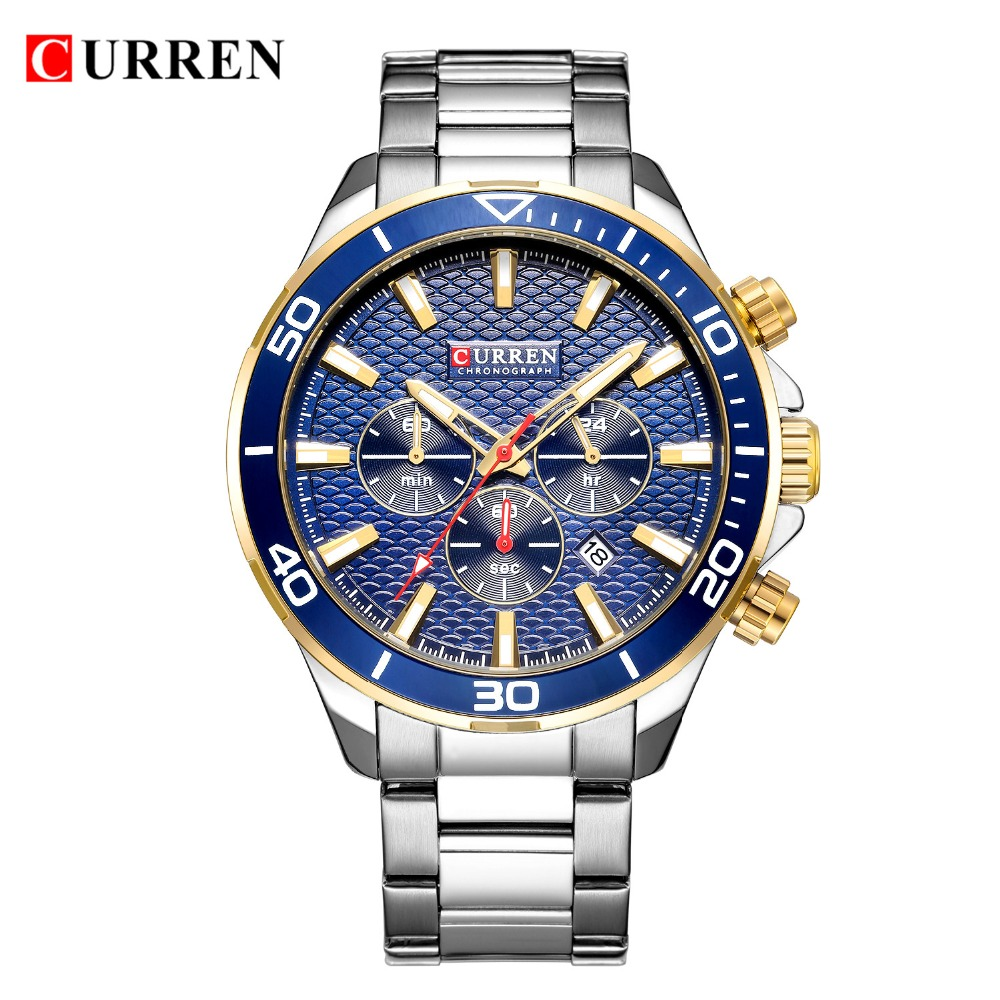 Topdudes.com - CURREN Luxury Fashion Water Resistant Stainless Steel Band Chronograph Watch