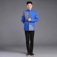 Vintage Fashion Men Chinese Jacket Long Sleeve Cotton Tops Coats Tang Suit Red Blue embroidery Top For Groom