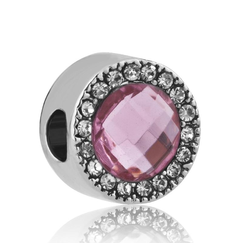 602994e50e89 free shipping 1pc silver lake blue pink purple round crystal bead Fits  European Pandora Charm Bracelets A186