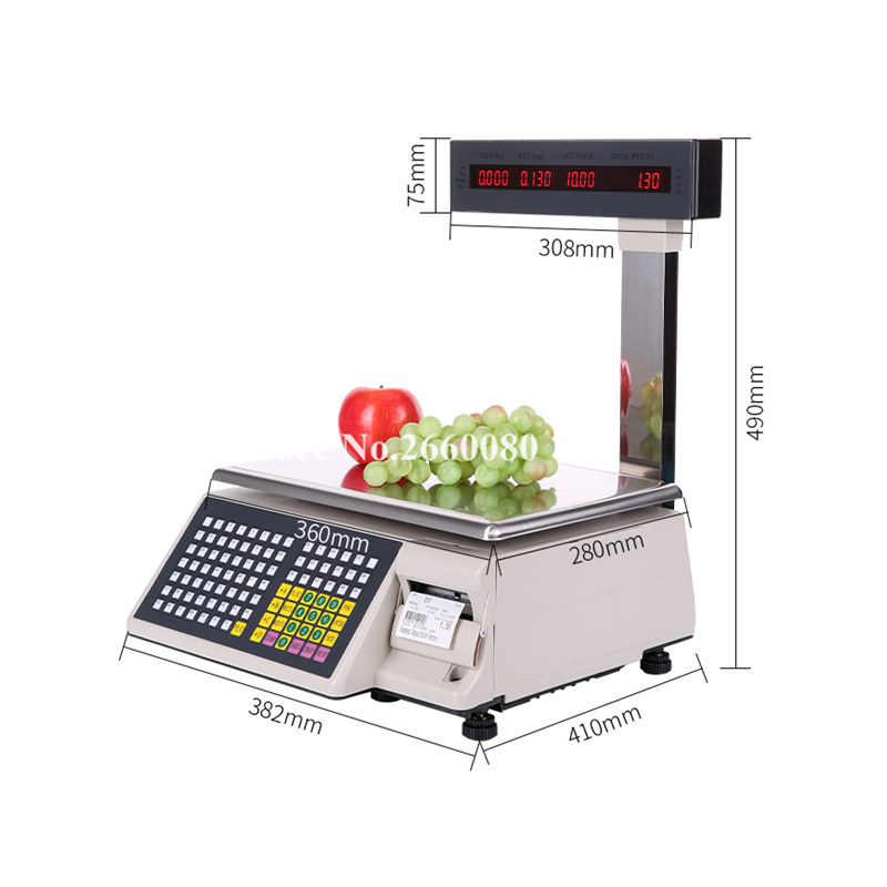 Balance d'impression d'étiquette de Balance de code barres espagnol de 2 pièces/lot (TM-15A-5D) Balance électronique numérique avec l'imprimante thermique arabe russe