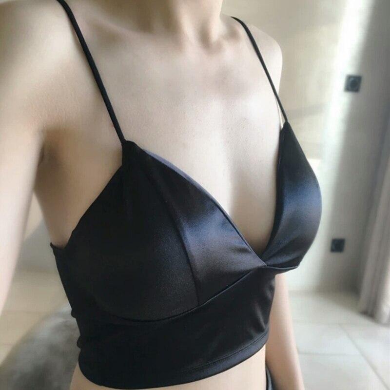 2019 NEW KLV Women Strap Solid Sexy Bikini Crop Tops Tank Top Underwear Bralette Wirefree Bra