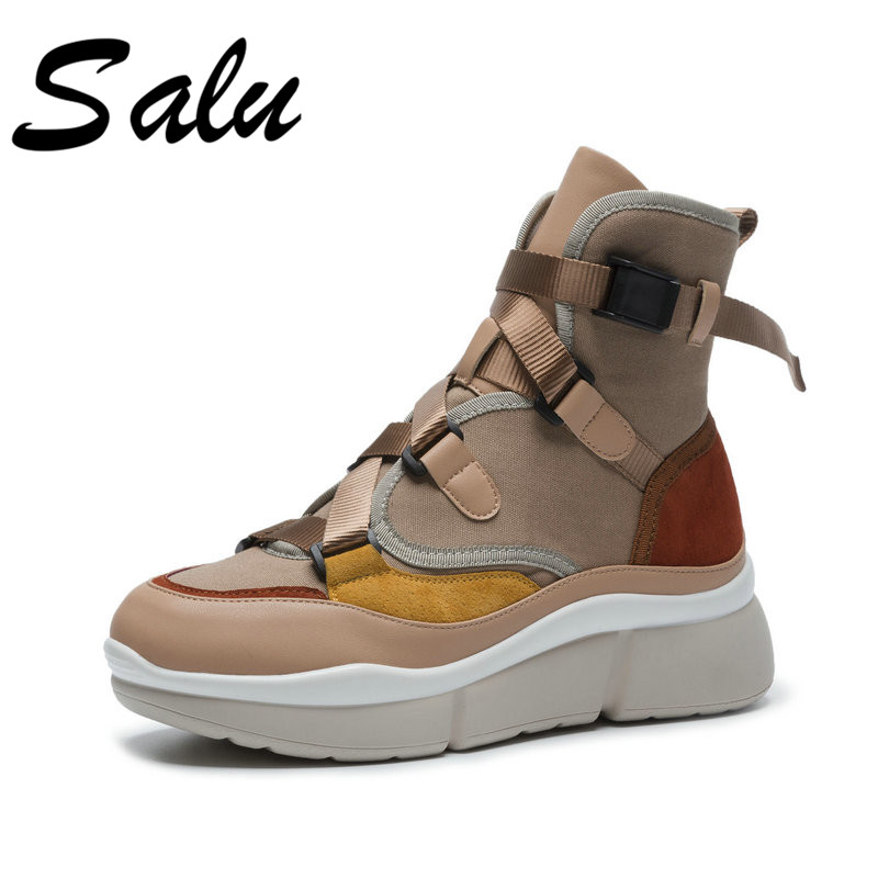 Salu 2018 new arrival ankle boots women lace up spring autumn boots suede leather comfortable flat shoes woman plus size 9 10 11 spring women rainboots 2016 new plain flat ankle boot waterproof rubber rain boots lace up shoes woman size plus 36 41 xwx3792