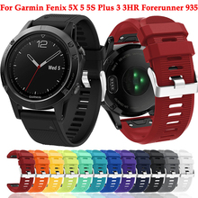 26 22 20MM For Garmin Fenix 5X 5 5S Plus 3 3HR Forerunner 935 Wristband replace Quick Release Silicone Easy Fit Sport watch band stainless steel quick release band buckle connector adapter for garmin fenix 5 5x 5s fenix3 3hr forerunner 935 22mm 20mm 26mm