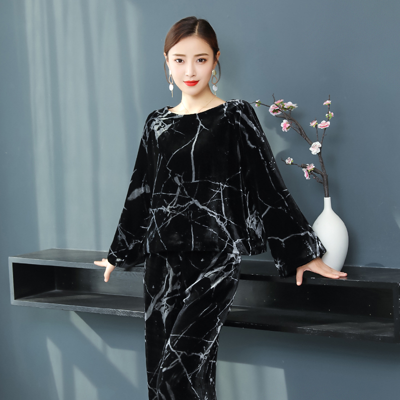 Women's Sets Black Velvet Tracksuits Women 2 Piece Set Plus Size Large Clothes Outfit Elegant Sportswear Co-ord Set Top And Pant Suits Loose Ample Supply And Prompt Delivery Suits & Sets