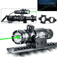 Tactical Outdoor Green Dot Laser Sight Adjustable Switch Rifle Gun Scope With Rail Mount For Hunting