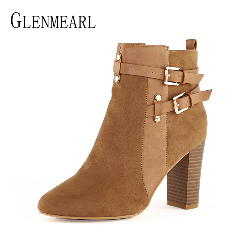Brand High Heels Shoes Women Boots Winter Ankle Boots Woman Leather Zip Flock Thick Heel Martin Shoes Short Females Round Toe CE yanicuding round toe women flock ankle booties metal short boots zip design luxury brand fashion runway star autumn shoes flats