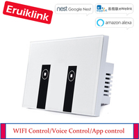 Work with Google Alexa US Standard Light Switch Glass Panel Touch wall Switch 90~250V eWelink APP Control WIFI Touch Switch