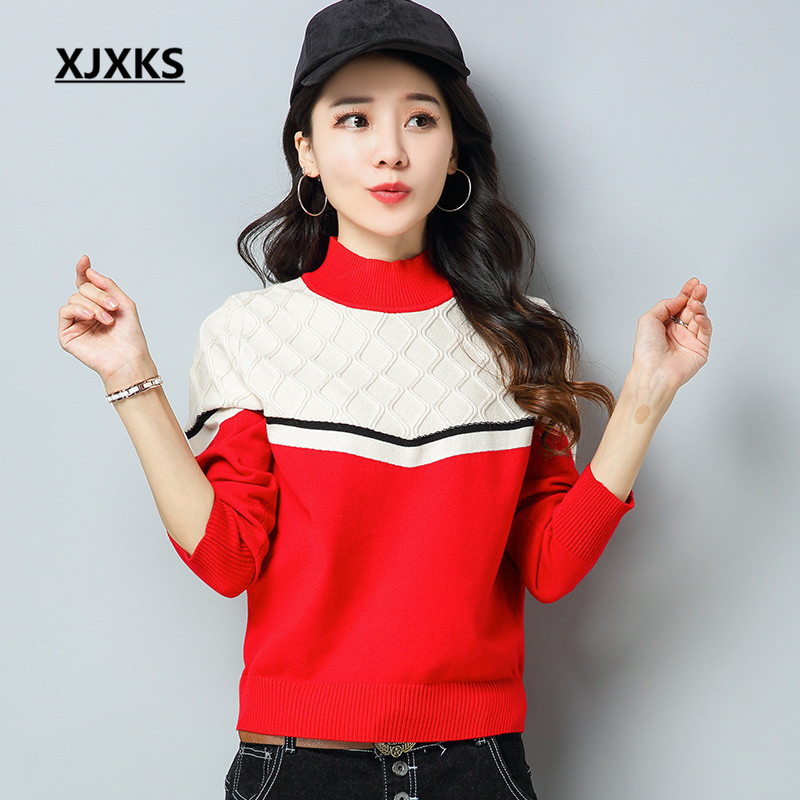 XJXKS Women Turtleneck Christmas Sweater Beautiful Ladies Clothing Long  Sleeve Colors Patchwork Casual Woman Sweaters 9e66748de