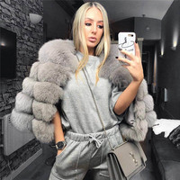 Real Fox Fur Coat Women Winter Natural Fur Jacket Outerwear Overcoat Short Genuine Fox Fur Coat Real Fox Fur Coats for Women