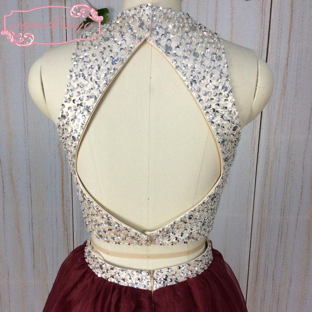 dbab52bb616 SuperKimJo Halter Prom Dresses with Rhinestones 2 Piece Prom Dresses Long  Burgundy Sexy Formal Dresses Vestido De Festa. 88-1 88-5 88-4 88-2 ...