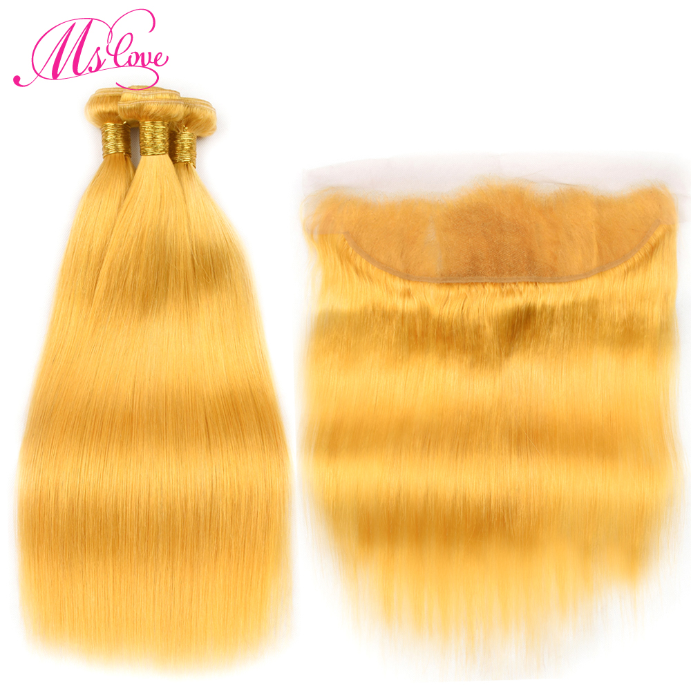 Ms Love Yellow Straight Hair Bundles With Frontal Closure 13*4 Lace Size Remy Brazilian Human Hair Bundles With Lace Frontal