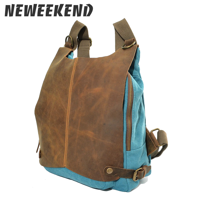Canvas Leather Cover Backpack Casual Design School Shoulder Bag For Man Woman Girl Boy MS1061 casual aquarius print and canvas design shoulder bag for women