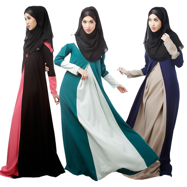 Плюс Размер Мусульманин Платье Контрастность Цвет Женщины Абая Платья Мода Арабские Одежды Элегантный Абая Турецкий Платье Исламская Одежда