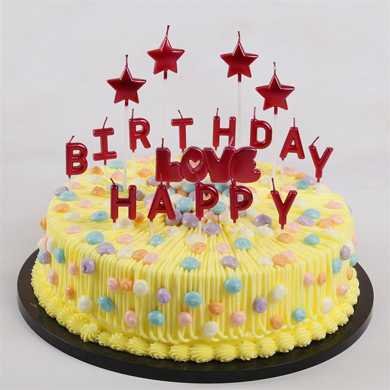 Groovy Rose Gold Sliver Red Letter Happy Birthday Candl Cake Birthday Funny Birthday Cards Online Elaedamsfinfo