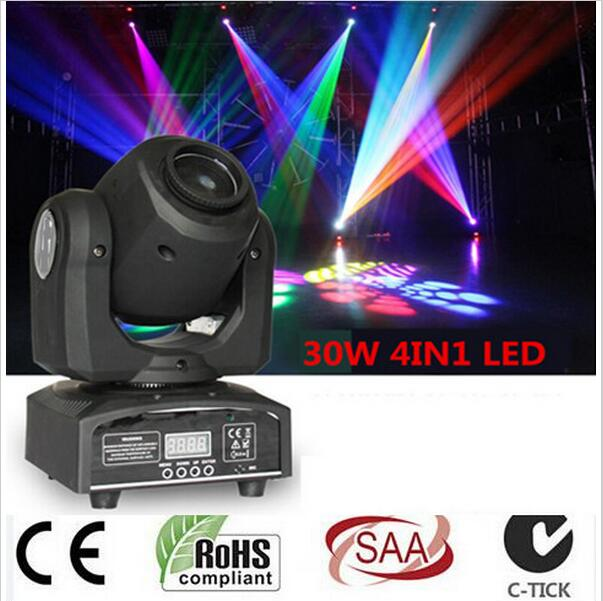 купить  20pcs led 4IN1 30W mini led spot moving head light Mini Moving Head Light 30W DMX dj 8 gobos effect stage lights/ktv bar disco  онлайн