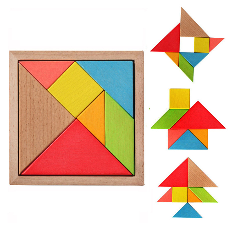 Beech Tangram 7 Piece Wooden Jigsaw Puzzle Colorful Square IQ Game Brain Teaser Intellig ...