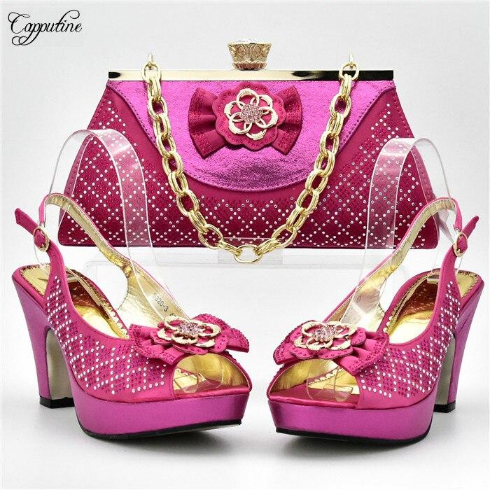 Наиболее Fashin фуксия туфли-лодочки на высоком каблуке с сумочкой модная обувь и комплект с сумкой xy05 Высота каблука 10 см