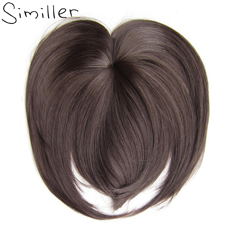 Similler White Black Brown Blonde Fake Fringe Clip In Blunt Bangs Synthetic Hair Extensions With High Temperature Fiber