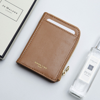 EMMA YAO womens leathercoin purses holders fashion korean zipper wallet brand  card holder