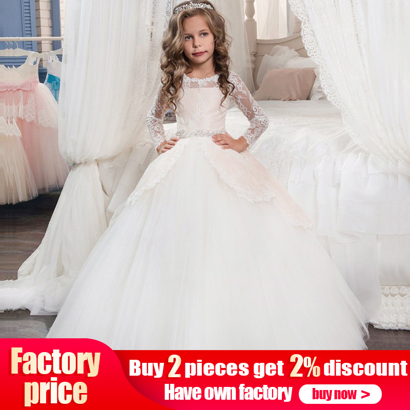 Dresses Princess-Dress Wedding-Flower First-Communion Girl Evening Lace for Baby Costume