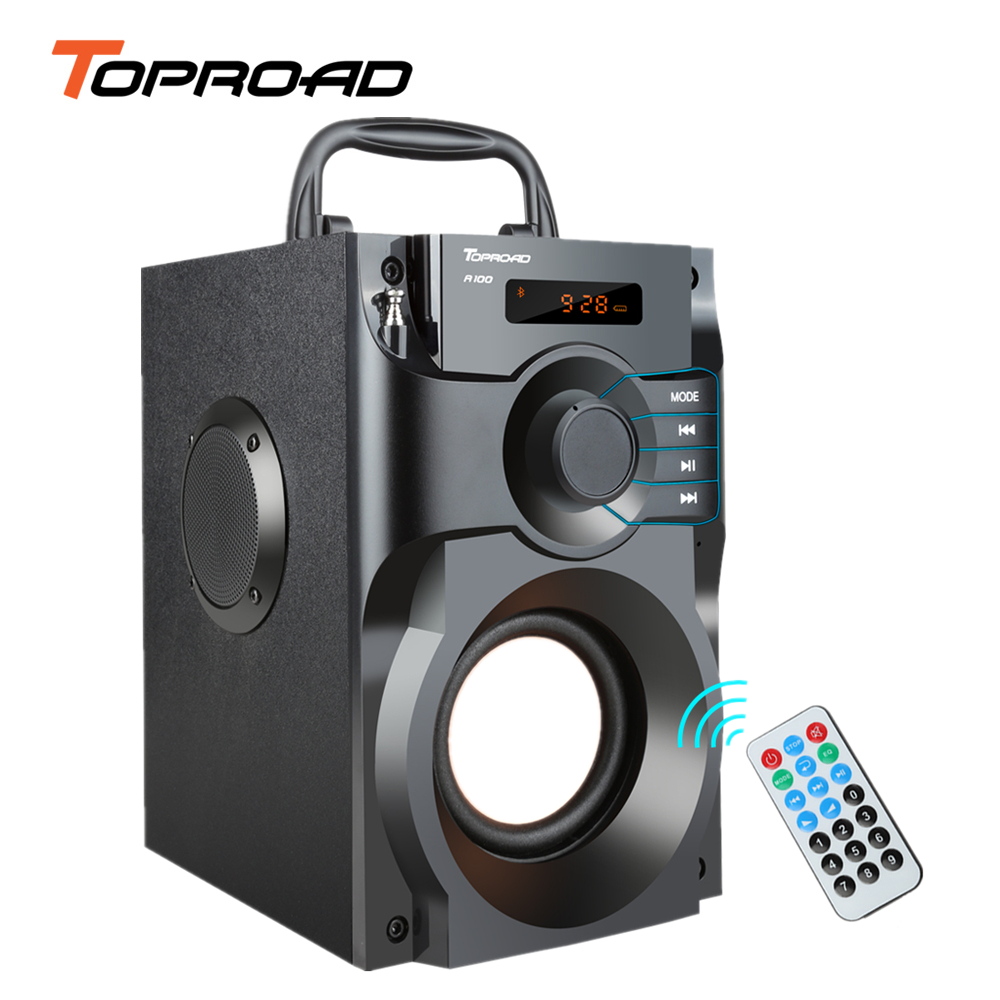 TOPROAD Big Power Bluetooth Speaker Wireless Stereo Subwoofer Heavy Bass Speakers Music Player Support LCD Display FM Radio TF(China)