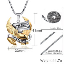 2016 Maxi Necklace Collier Collares Fashion Eagle Pendants Live To Ride Biker Sport Men Plated Stainless Steel Hero Jewelry(China)
