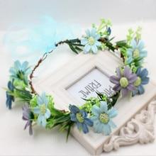 Women leaf Flower Hair Wreath Festival Wedding Party Girl Floral Garlands Crown Halo Headpiece Bridesmaid Forest head Crown Lady