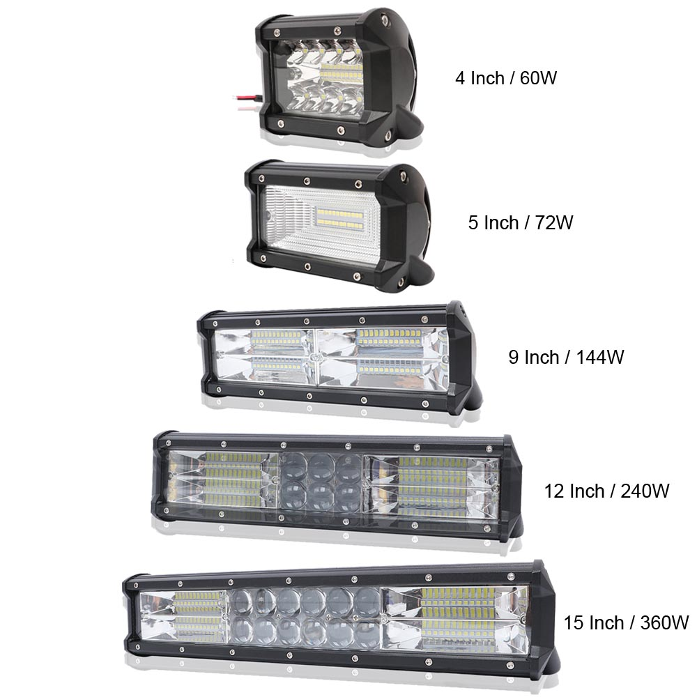 4 5 9 12 15 inch 60W 72W 144W 240W 360W Spot LED Work Light Bar for Motorcycle Tractor Boat Off Road 4WD 4x4 Truck SUV ATV