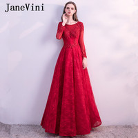 JaneVini Burgundy Long Bridesmaid Dresses With Sleeves A Line Scoop Neck Lace Applique Sequined Beaded Lace Prom Gowns Jurk Lang