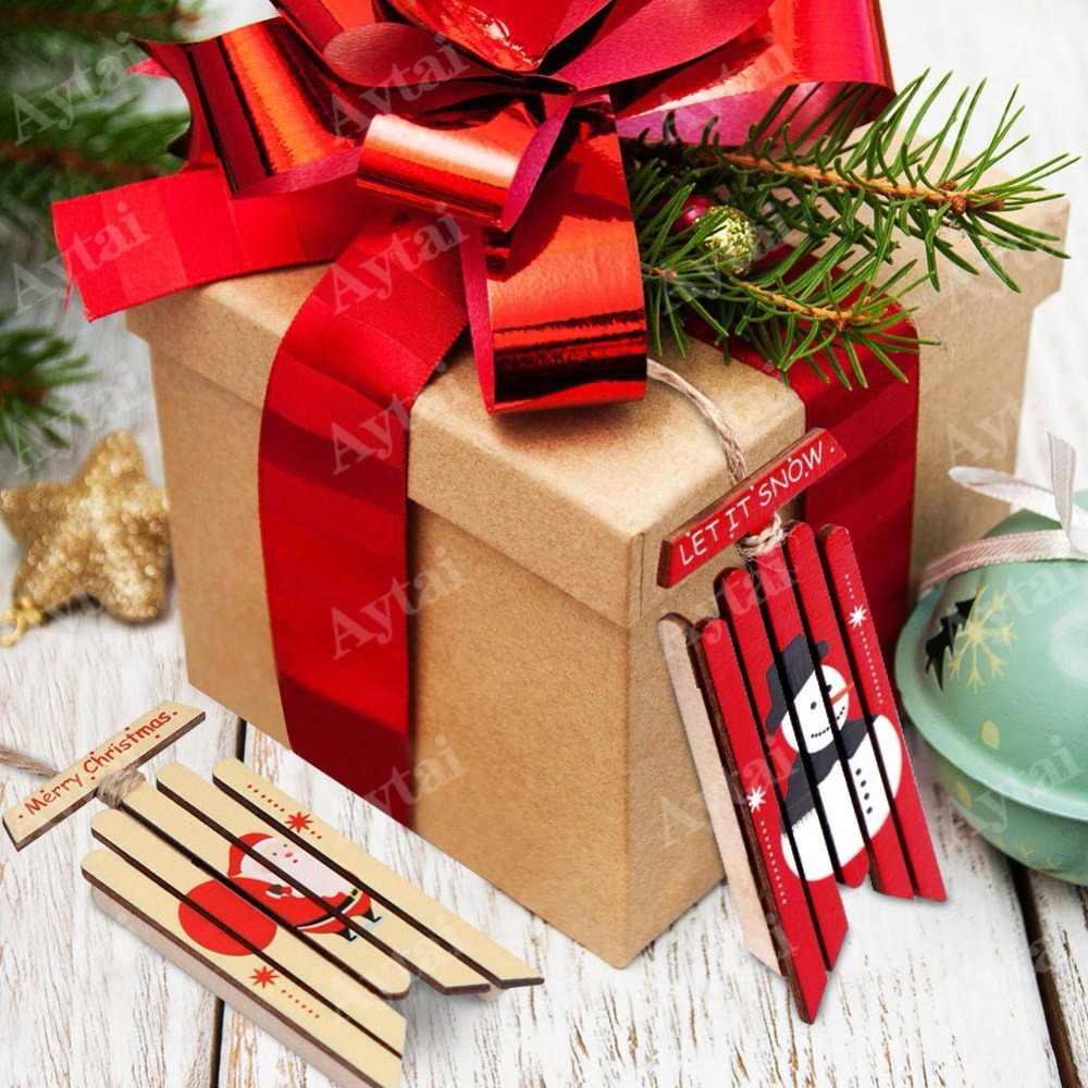 Adorno de árbol de navidad de madera Natural de 2 piezas, colgantes de madera, regalos, decoración navideña con trineo de nieve, adornos de navidad
