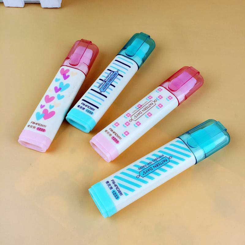 Cute Mini Heart Flower Eraser Prizes For Kids Soft Retractable Creative Eraser Refill Stationery School Correction Accessories