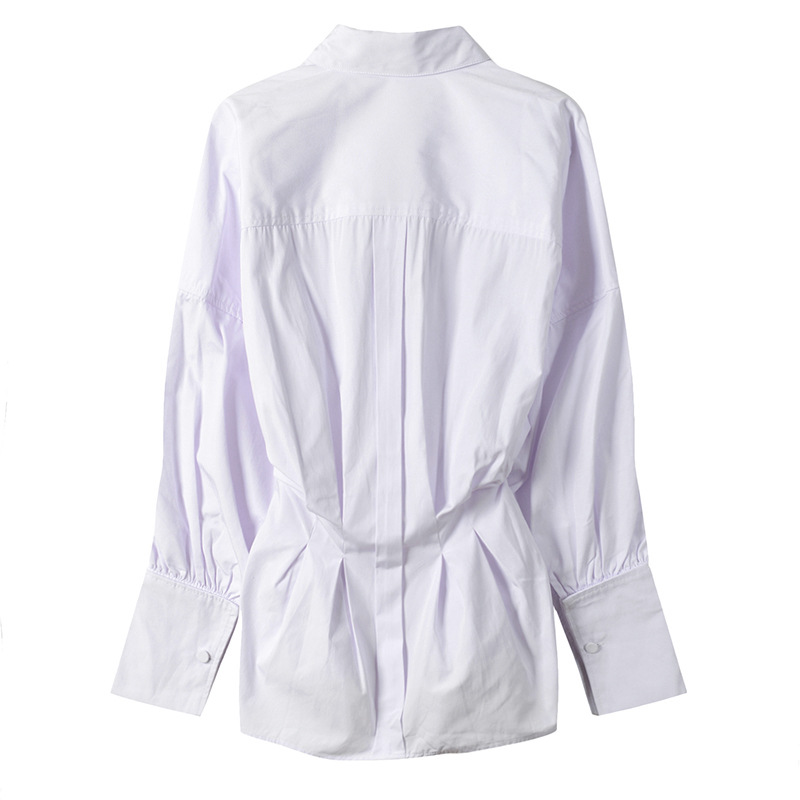 L Kaki Manches Collar Bouffantes Blouse blanc Mode down Nouveautés M 2 2018 Chemise Femmes Turn Automne Couleurs S qwIZpa