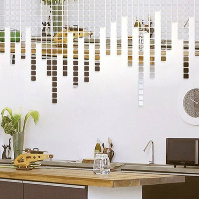 100 Pcs/set 2*2CM Acrylic Mirrored Decorative Sticker Wall Art DIY Decoration Mirror Wall Stickers For Kids Rooms Home Decor