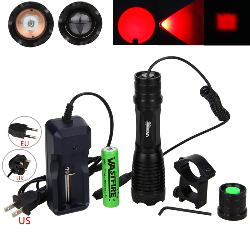 Zoomable 5000LM GReen RED LED Military 250Yard Hunt Remote Switch+Battery Torch Flashlight Weaver Picatinny Mount Rifle