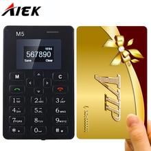 Aiek m5 ультра тонкий карты мобильного телефона сотовый телефон low radiation телефон мини карманные студенты личности детей смартфон