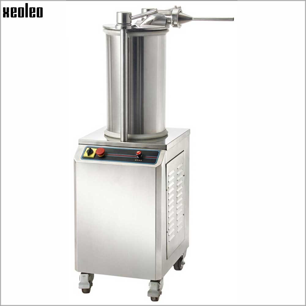 Xeoleo Commercial Sausage Stuffer Automatic Sausage Filler Stainless Steel Hydraulic Pressure Electric Sausage Filling Machine ship from germany 5l stuffer maker machine commercial sausage filling machine sausage stainless steel with 4 filling pipes