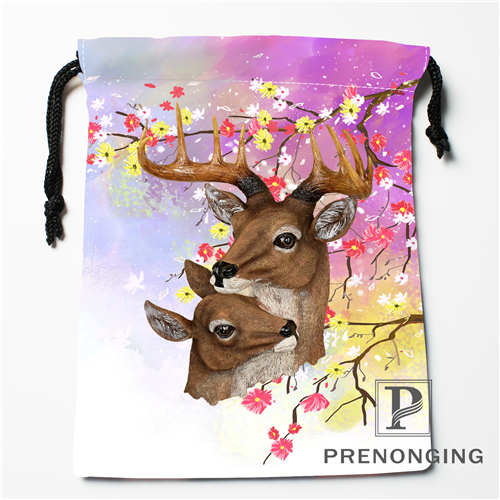 Custom Colorful Deer Drawstring Bags Printing Fashion Travel Storage Mini Pouch Swim Hiking Toy Bag Size 18x22cm 171203-05-04