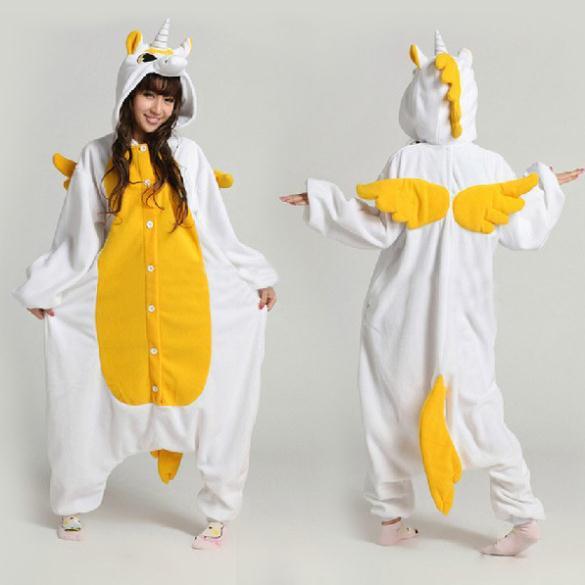 New Arrival Cartoon Animal Costumes Unicorn Ladys New Style Yellow Unicorn Onesies Costume Party Costume For