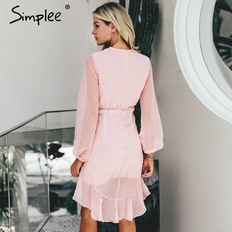 Летнее женское платье Simplee в горошек, 2019, шифоновое платье-бодикон миди с элегантными оборками, женское вечернее платье