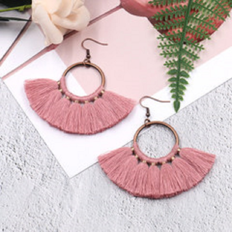 Exknl Long Vintage Fringed Drop Tassel Earrings Women Bohemian Round Big Earrings Ethnic Party Dangle Earrings Fashion Jewelry 17