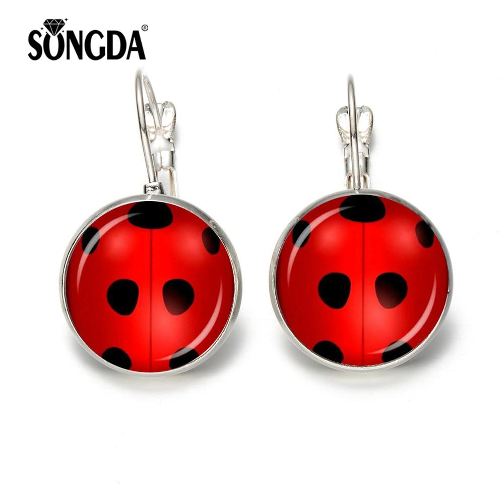 SONGDA NEW Magical Ladybug Earrings Adrien & Marinette Creative French Hook Earrings for Women Girls Anime Cosplay Trinkets earrings