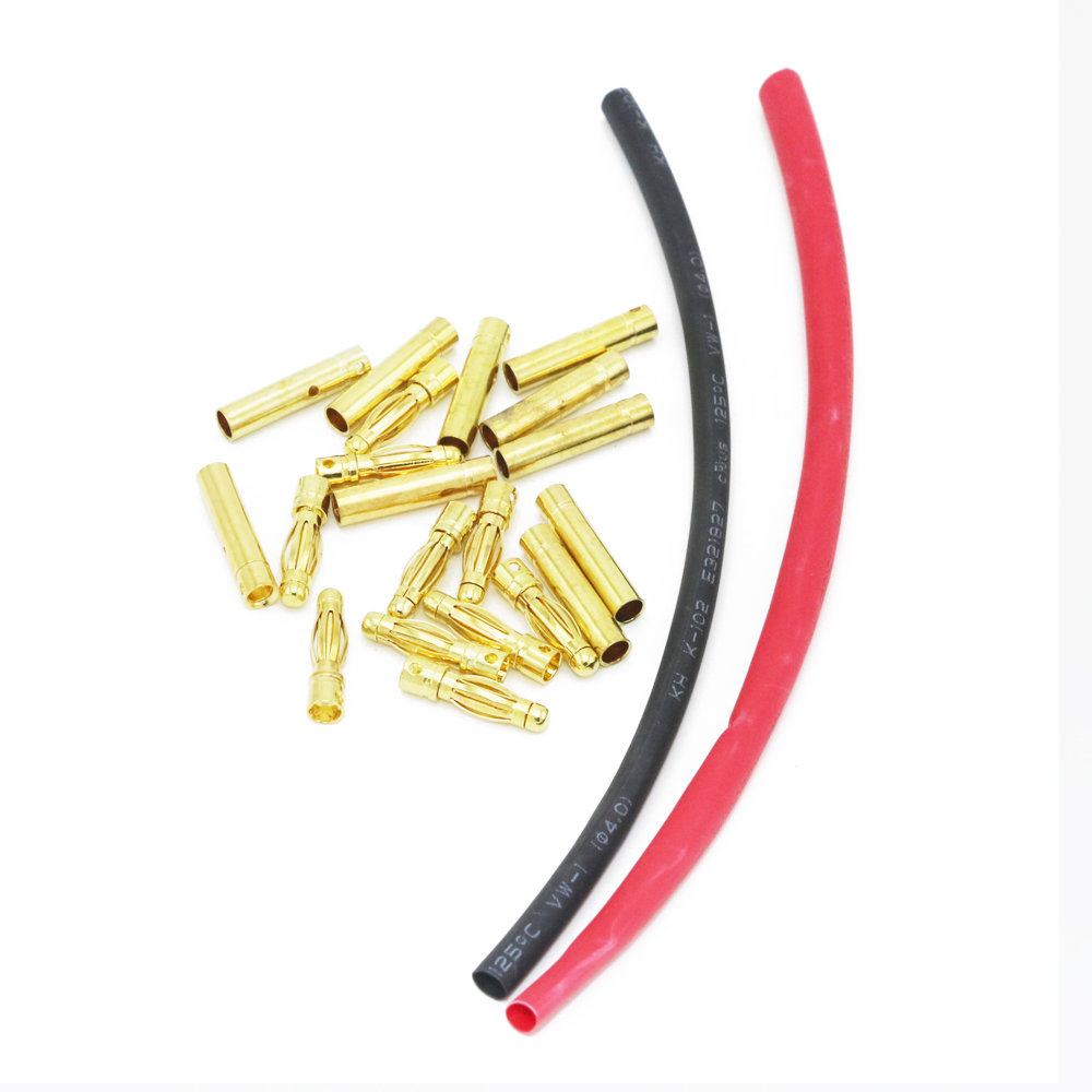 10 Pairs 2.0mm 3.0mm 3.5mm 4.0mm Gold Plated Bullet Banana Plugs Male Female Connectors with 20CM Heat shrinkable tube