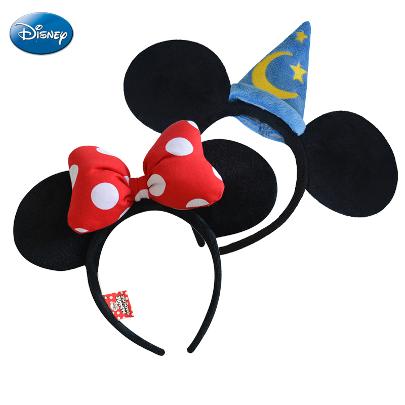Genuine Disney Headband Mickey Minnie Mouse Headdress Head Minnie Ears Girls Hair Bands Princess Head Hoop Plush Toys Keychain 12pcs hair accessories mickey minnie mouse ears solid black sequins headbands headwear for boy girl birthday party celebration