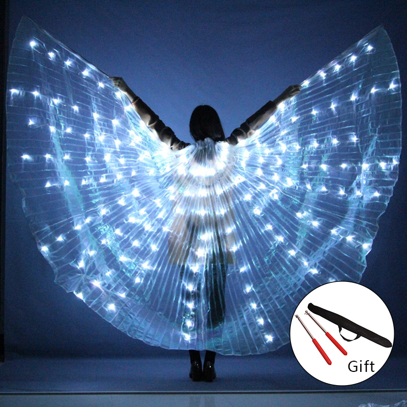 2018 Новый Для женщин Belly Dance Реквизит 360 градусов светодиодный блестящими крыльями для танцев для девочек Крылья угол открытия танцор реквизит крылья с палками
