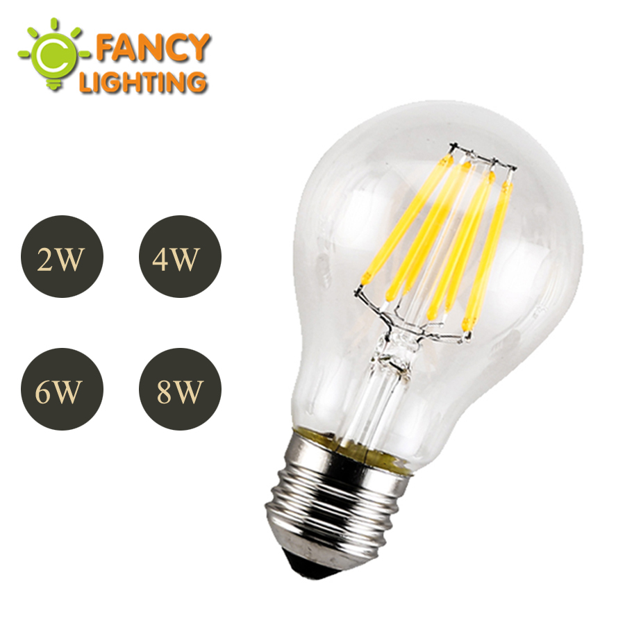 E27 Led 220V & 110V A60 Edison Filament bulb LED Light 2w 4w 6w 8w power Led Energy Saving Lamp Bulb For Home Decor Warm White