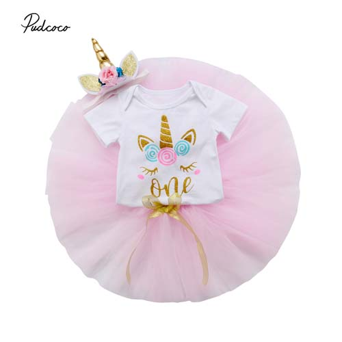 Pudcoco 2018 Newborn Infant Baby Girls Clothes Set Cute 3D Unicorn Bodysuit+Tutu Skirt+Headband 3pcs Birthday Party Outfit 0-24M