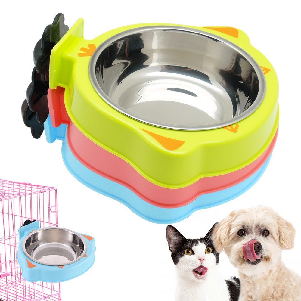 Colorful Pet Dog Cat Bowl Feeder Cage Hanging Food Water Bowls For Crates Cages Dog Parrot Bird Pet Feeding Drinking Dish