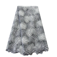 PQDAYSUN 2018 Beads African Lace Fabric High Quality Guipure Embroidery Lace African Fabric 5 Yards/piece Swiss French Net Lace